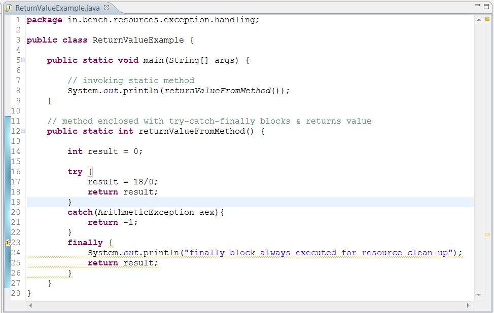 Returning value from method having try-catch-finally blocks ...