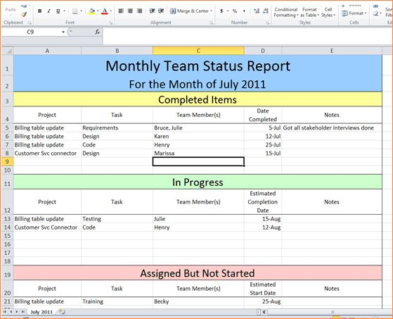 3+ project status report template excelReport Template Document ...