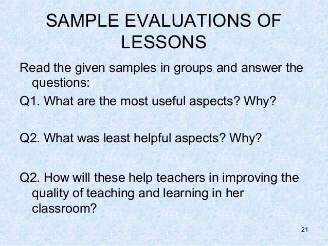 Evaluating lessons