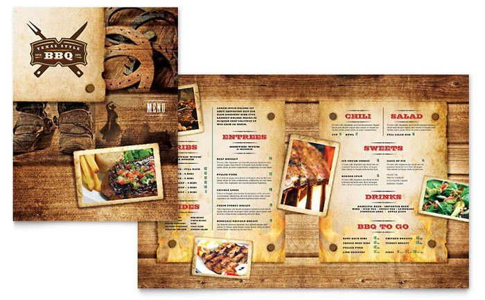 Steakhouse BBQ Restaurant Menu Template Design by StockLayouts ...