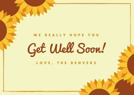 Beige Sunflower Get Well Soon Card - Templates by Canva