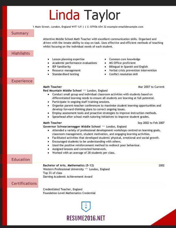 teacher cv template lessons pupils teaching job school coursework ...