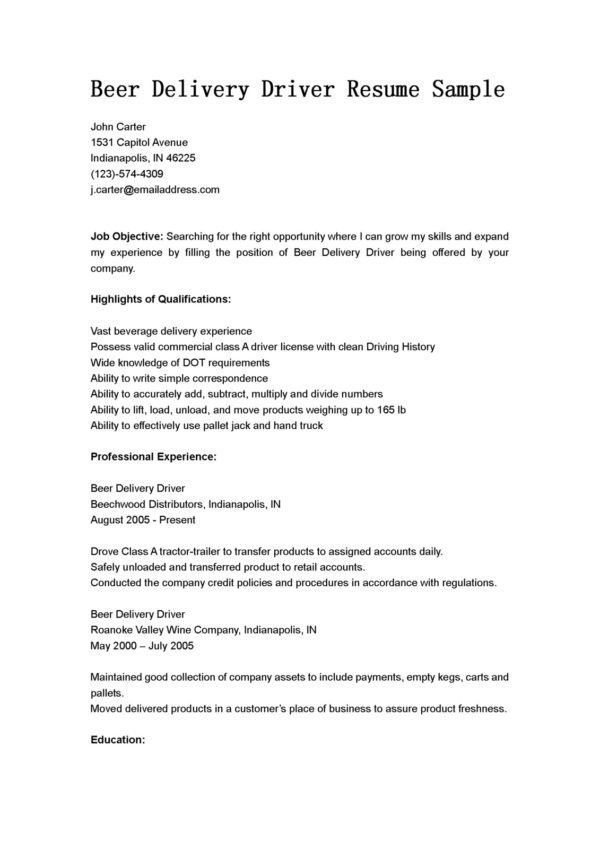 Job Objective and Highlights Qualifications for Delivery Driver ...