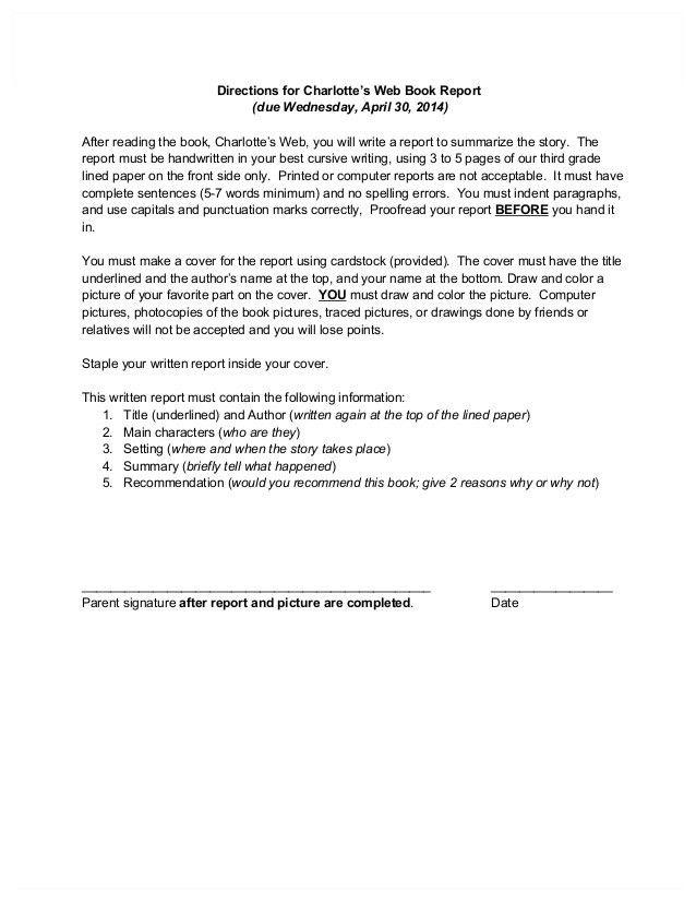 Charlottes Web Book Report grade 3