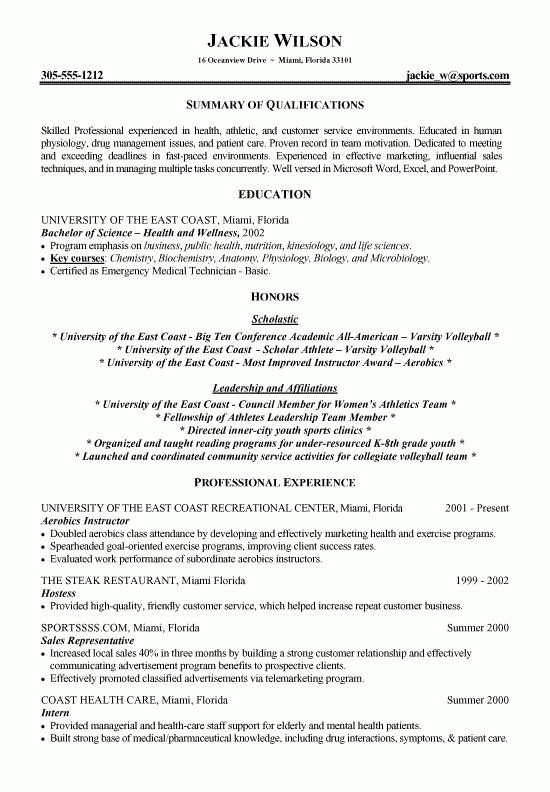 Athletics Health Fitness Resume Example | Resume writer, TVs and Books
