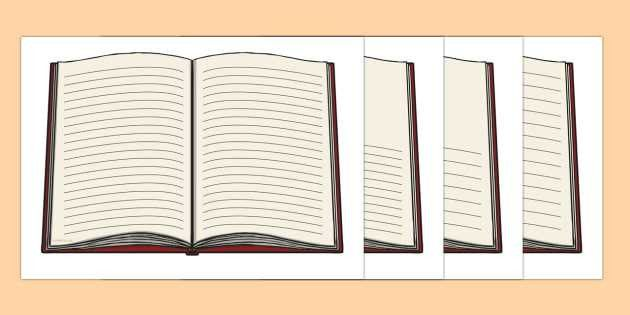 Open Book with Lines Writing Template - open book, writing