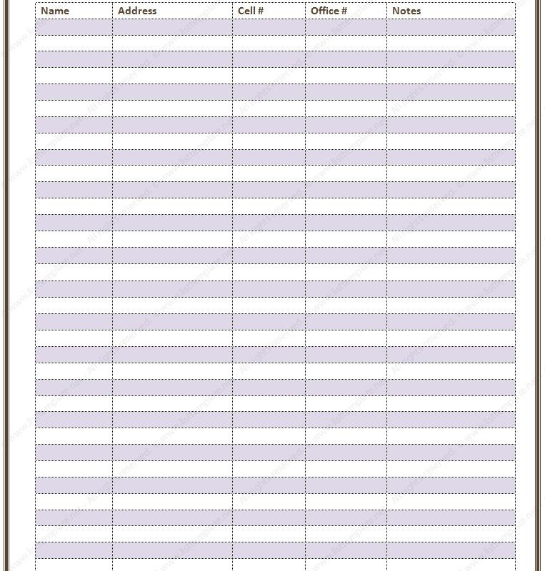 Contact List Template | peerpex