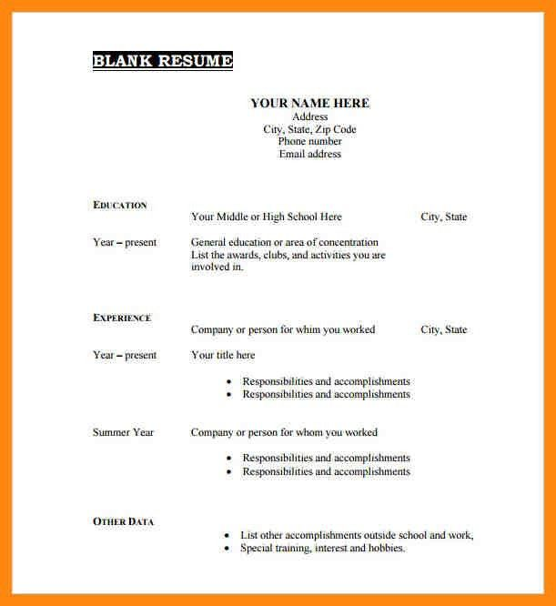 Empty Resume Format | haadyaooverbayresort.com