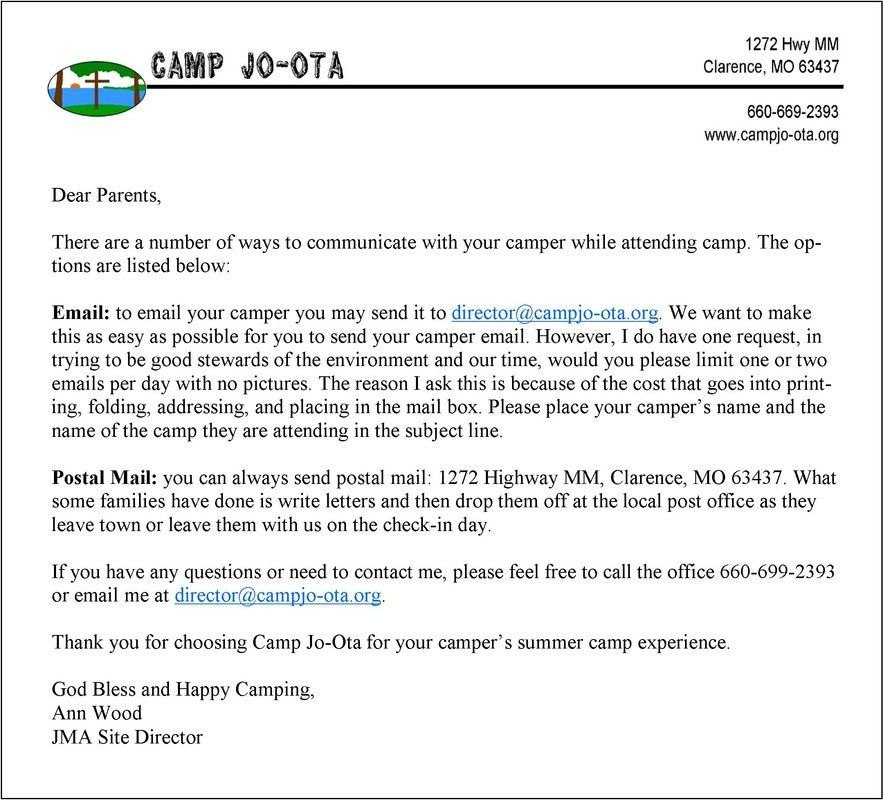 Camper information: Do's and Don'ts - Camp Jo-Ota