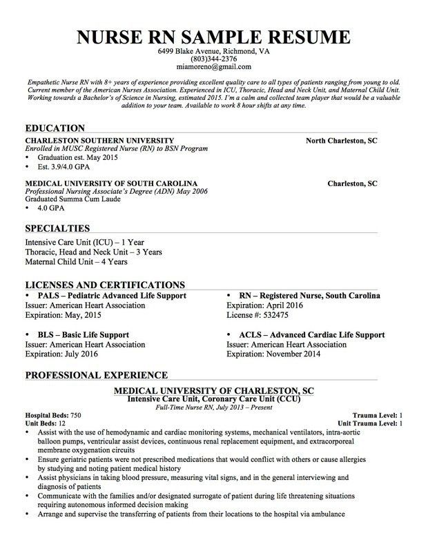 Download Resume Examples For Nurses | haadyaooverbayresort.com