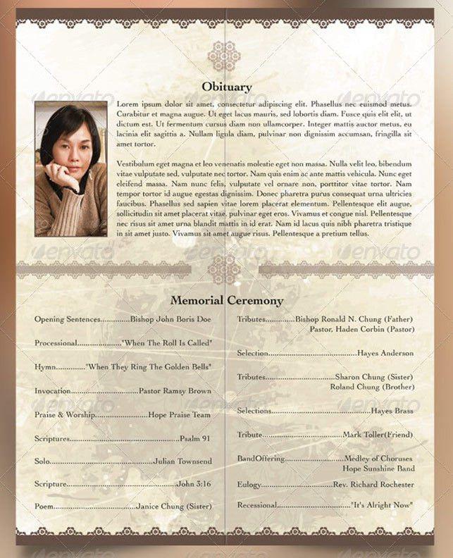 Oriental Style Bi-fold Funeral Program Template | Godserv Market