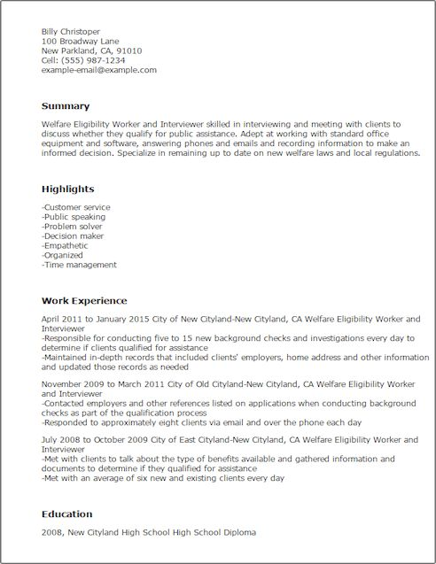 Eligibility Specialist Cover Letter
