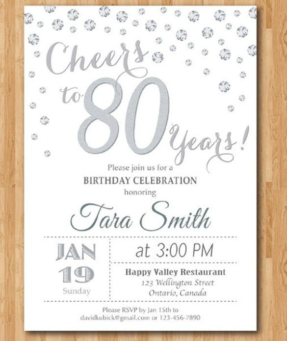Birthday Invites: Awesome 80Th Birthday Invitations Designs 80th ...