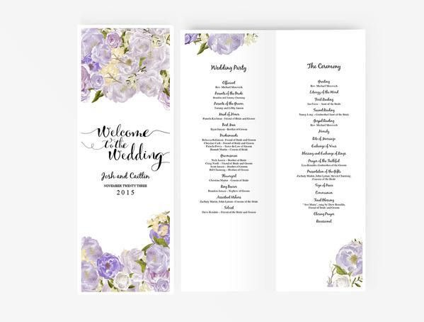 Wedding Program Booklet DIY | Editable MS Word Template | Peony ...