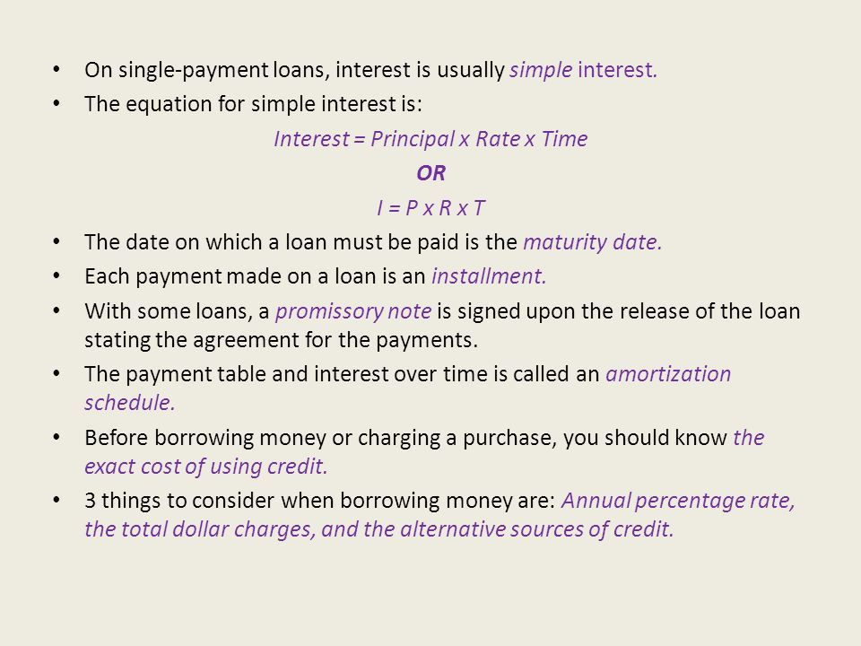 Chapter 18 Section 2 Cost of Credit. Finding Interest Borrowing ...