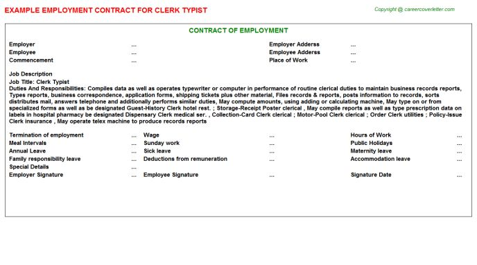 Clerk Typist Employment Contract