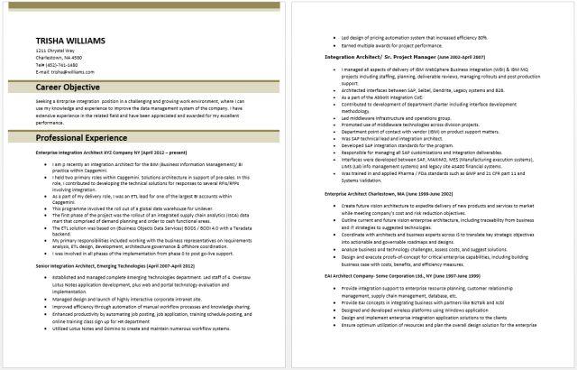 Enterprise Application Integration Resume – Best Resume Examples