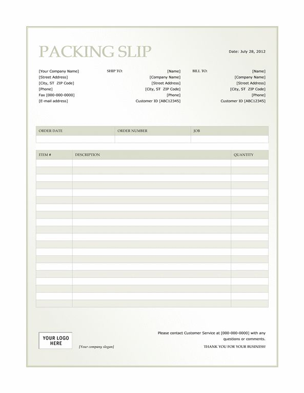 Packing slip (Green Gradient design) - Office Templates