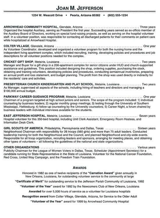 Hospital Volunteer Resume Example #106 - http://topresume.info ...
