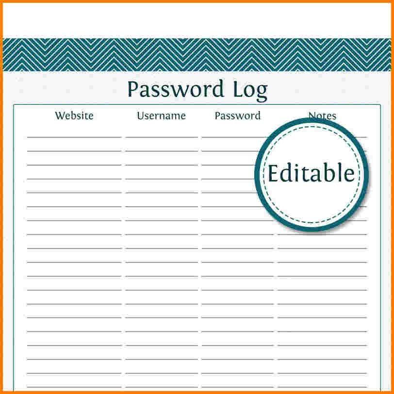 6 password log template | Receipt Templates
