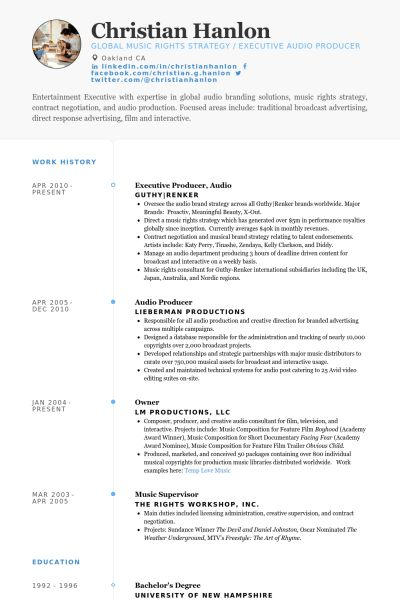 Producer Resume samples - VisualCV resume samples database