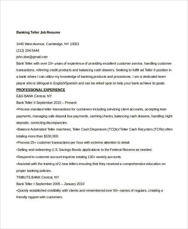 Teller Job Description  SaveBtsaCo