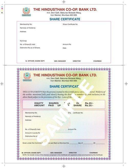 Share Certificate Paper - Share Certificate Paper Exporter ...