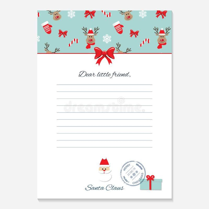 Christmas Letter From Santa Claus Template. Stock Illustration ...