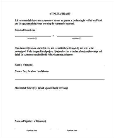 7+ Witness Affidavit Form Samples - Free Sample, Example Format ...
