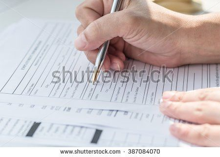 Persons Hand Filing Blank Application Form Stock Photo 459891832 ...