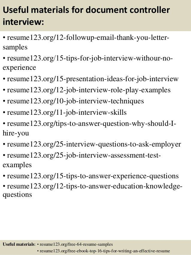 Document Controller Resume Sample Cv