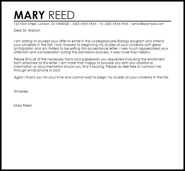 School Acceptance Letter | Acceptance Letters | LiveCareer