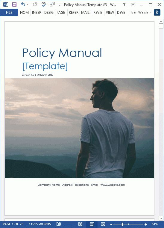 Download Policy & Procedures Manual templates (MS Word 68 pages ...