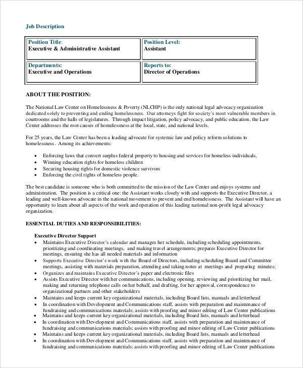 Sample Executive Assistant Job Description - 8+ Examples in PDF, Word