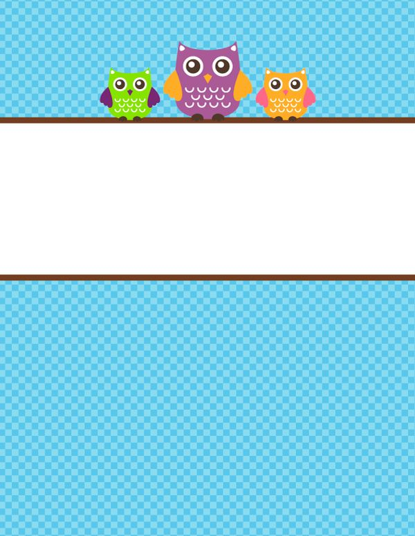 Free printable owl binder cover template. Download the cover in ...