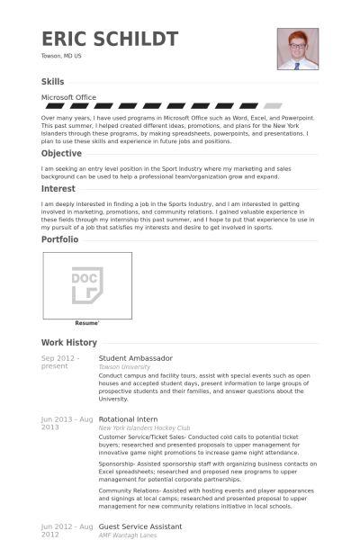 Student Ambassador Resume samples - VisualCV resume samples database