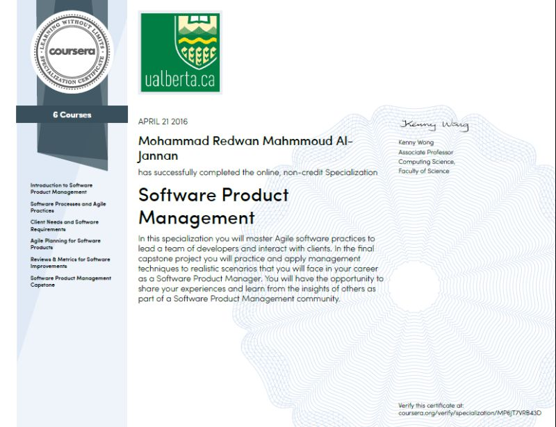 Software Product Management Specialization | Mohammad Redwan ...