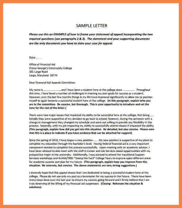 8+ college financial aid appeal letter sample | Appeal Letter 2017