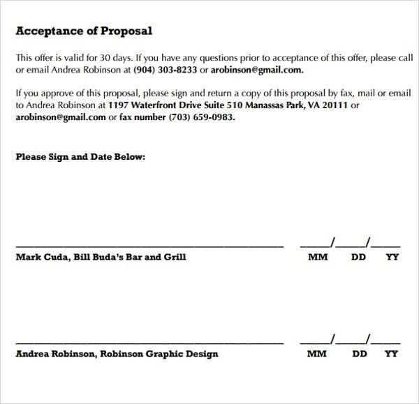 28+ Acceptance Of Proposal Template | Sample Proposal Acceptance ...