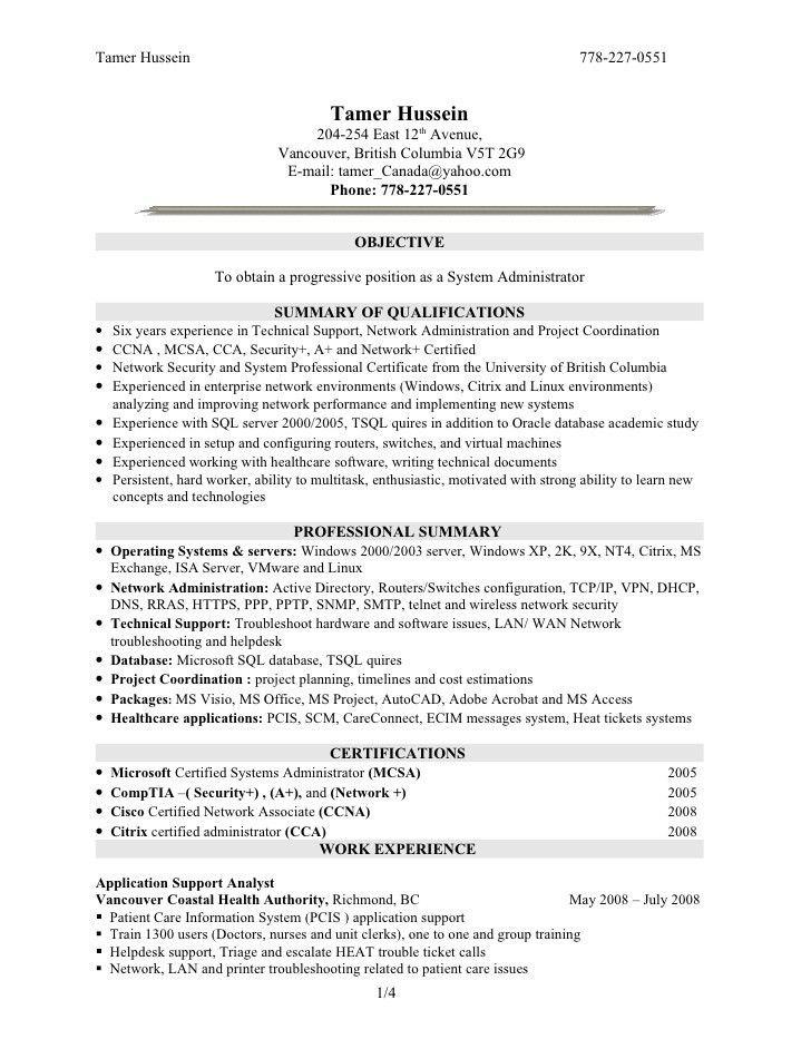 Download Linux System Administration Sample Resume ...