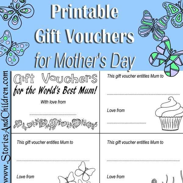 Printable Mother's Day Gift Vouchers - Stories and Children