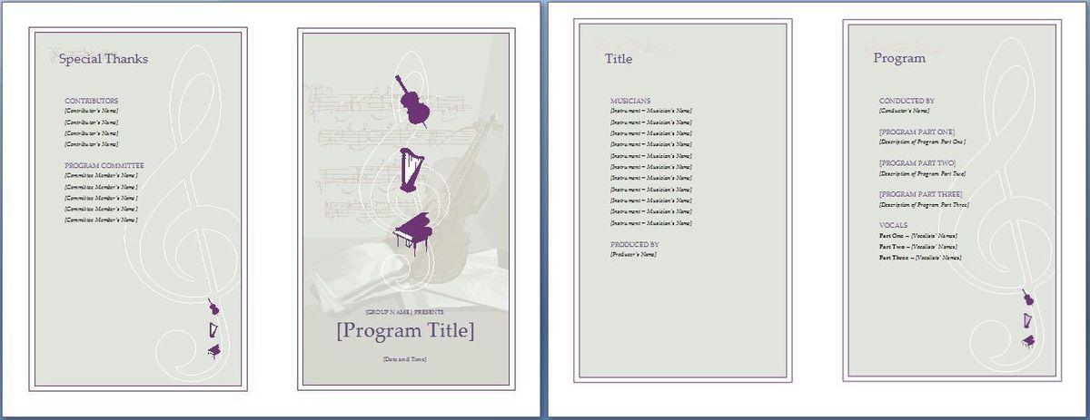 Music Event Program Invitation Template | Formal Word Templates