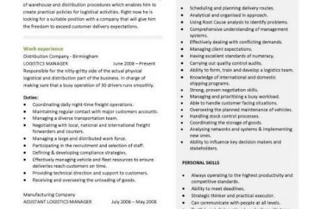 transportation manager cover letter logistics manager cv template