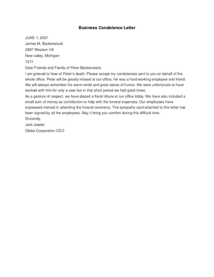 Sample Condolence Letter For Death : Samples of Letter Of ...