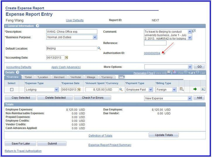 NAU - ITS - Populate an Expense Report from a Travel Authorization