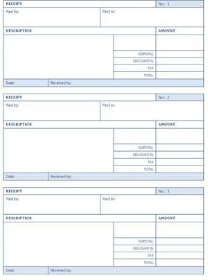 Printable Cash Receipts - Small Business Free Forms