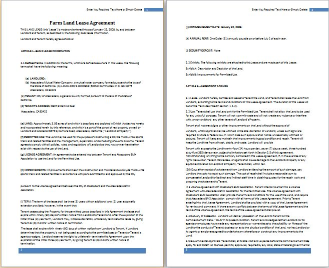 MS Word Farm Land Lease Agreement Template | Free Agreement Templates