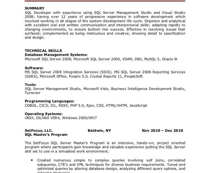 Sweet Inspiration Sql Developer Resume 5 Paulette Warrick SQL ...