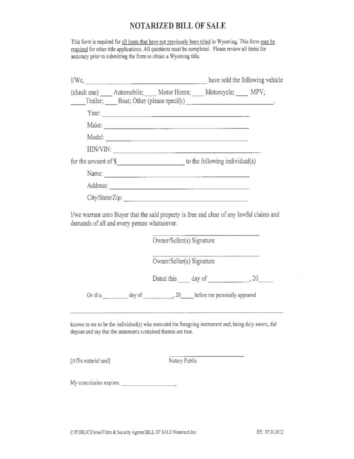 Notarized Boat Bill of Sale Form - Wyoming Free Download