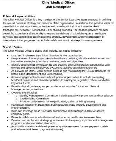 Chief Medical Officer Job Description Sample - 7+ Examples in Word ...
